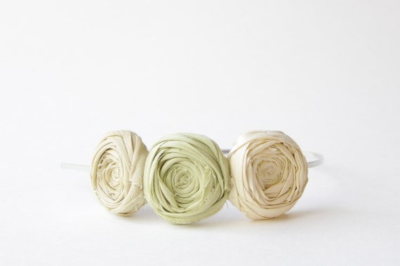 SALE Rosette Headband Spring Green Ivory Straw Silk Airy Morning Rosette Flower Headband Rosettes Ready to Ship Christmas Gift