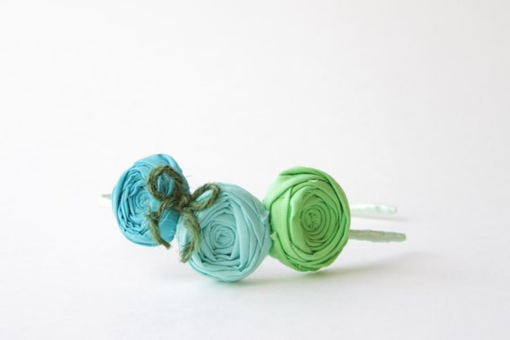 SALE Rosette Headband Cotton Flowers in Apple Green Cockatoo Blue Turquoise with Woodland Green Jute Bow Wrapped Headband