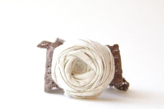 SALE Rosette Bracelet Cream Rosette Flower Earth Tone Brown Stretch Lace Band Bracelet Stretch Lace Rosette Bracelet 1.5 inch
