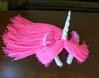 Pink Unicorn Headpiece with White Twisted Horn Made to Order