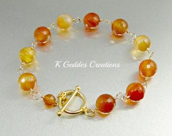 Gold Carnelian Bracelet 14k Gold Filled Wire Wrapped Gemstone Bracelet Yellow Orange Gemstone Gold Bracelet Gold Jewelry, Chunky Bracelet