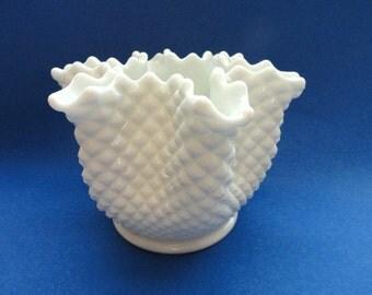 Westmoreland English Hobnail White Milk Glass Vase Star Shaped/ Vintage White Milk Glass Vase/ Vintage Home Decor