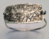 Extra Large and Rustic - Your Child's Actual Writing Silver Message Tension Bracelet - Samantha Style -Made to Order