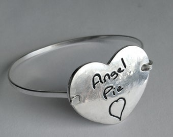 Memorial Jewelry-Extra Large Silver Heart Shaped Tension Bracelet -Made to Order