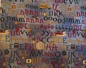 School Alphabet Debbie Mumm is the Word SSI Fabric Blue