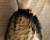 Lace tulle skirt for women. Black lace over champagne tulle adult tutu. Holiday fashion