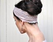 SALE--Turban style stretch lace jeweled headband in champagne, black, navy,  grey, peach, white. Ready to ship.