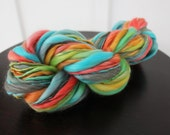 Parrotfish- Hand Dyed Handspun Thick and Thin Yarn