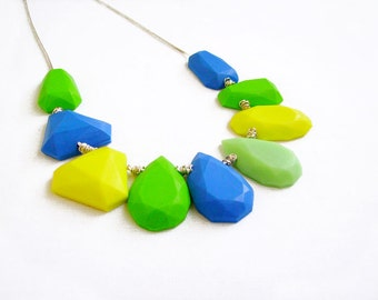Blue Green Statement Necklace, Polymer Clay Gem Necklace, Gem Candy Collection