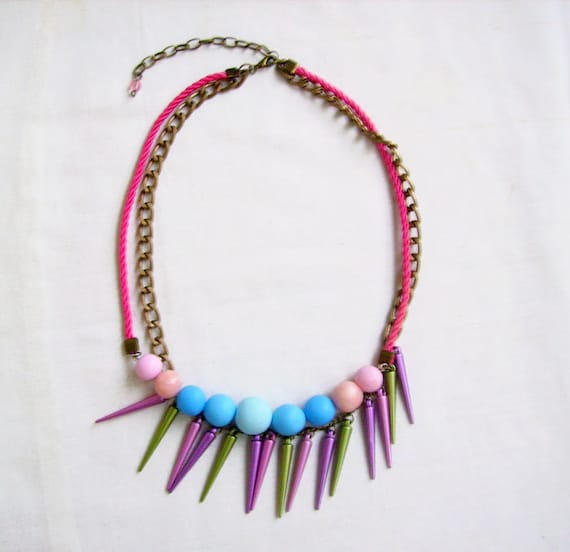 Statement Spiky Necklace in Pink, Purple, Green - The Friendly Shark -  - Handmade Clay Geometric Necklace - Autumn-Winter Trend Preview