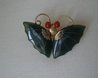 Vintage Design Glass Jade and Coral Stones Butterfly Pendant Pin Brooch