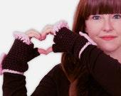 Black Crochet Gloves - Crochet Fingerless Gloves, Pink Ruffle, Cute Crochet, Valentine