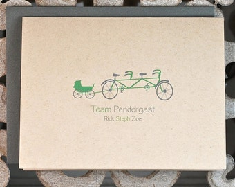 New Baby Cards, Baby Thank You Cards,  Expecting Baby Cards, New Baby, Bicycles, Baby Announcements, Tandem Bike, Stroller