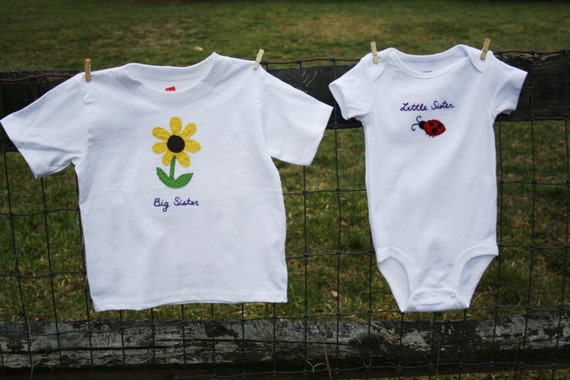 Big Brother/Sister & Little Brother/Sister t-shirt and onesie/bodysuit Set, Perfect for celebrating a 2nd birth