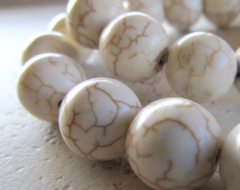 Turquoise Beads 12mm Natural Bleached White Smooth Rounds - Last 10 Pieces