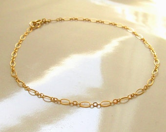Anklet, 14K Gold Filled Anklet, Gold Chain Anklet, Gold Anklet, 14kt Gold Filled Anklet, Oval and Round Links, Chain Anklet