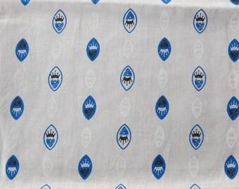Vintage Royal Crest Crown Cotton Print Fabric