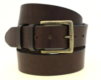 """Men's 1 1/2"""" Dark Havana Brown Bridle Leather Belt With Antique Brass Buckle And Double Loops Made In USA"""
