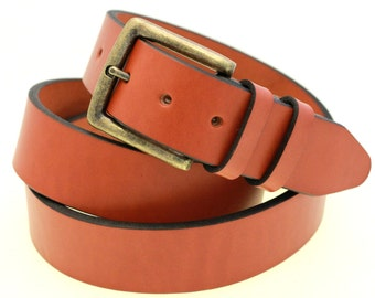 "Made In USA Men Or Women's 1 1/2"" Chestnut English Bridle Leather Belt With Double Loops And Antique Brass Buckle Work Or Casual"
