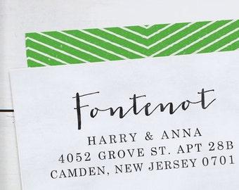Custom Address Stamp - Calligraphy Stamp - Self Inking  - wedding stamp - housewarming gift - Fontenot