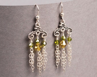 Rivulet Earrings - Lime and Silver