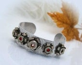 Bullet Cuff Bangle Bracelet, Nickel 45 ACP 9mm Casing Rosettes with Swarovski Crystals