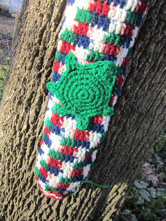 Crochet Plastic Bag Holder Tan Green Red Blue and White with Turtle