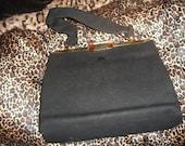 1950s vintage black granny purse gorgeous clasp handbag Mad Men