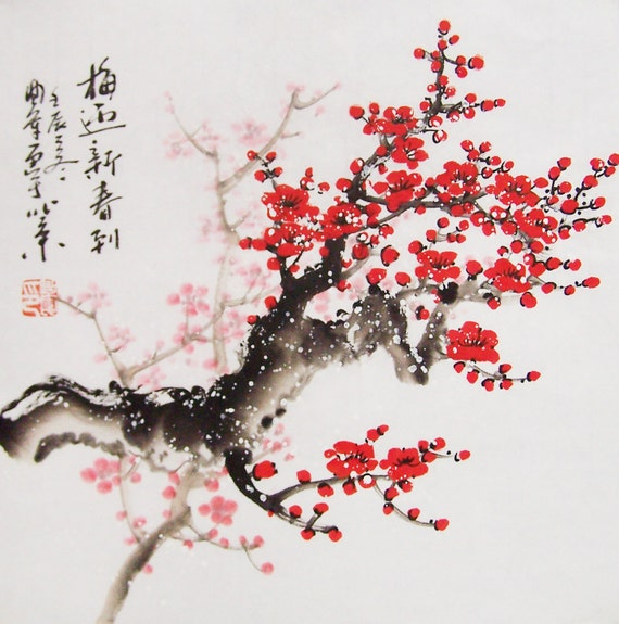 Red Cherry Blossom Paintings Original Chinese Painting