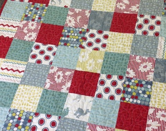 Sweet and Modern Baby Quilt in Hullabaloo fabrics -- red, grey, aqua, citrine