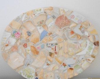 Beach glass mosaic.  White Pastel Vintage Oval Platter. Mosaic Plate.  Beach pottery.  Decorative Plate.  Cottage chic decor.  Shelf Decor