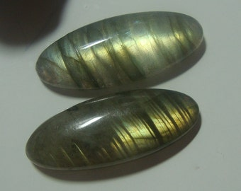 Labradorite Smooth Oval Cabochon, One Pair, 25x10mm, AAA, Amazing Fiery Blue Green Flash - F3-6