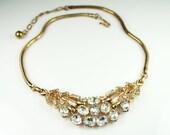 Vintage Crown Trifari Diamante Rhinestone Gold Tone Necklace