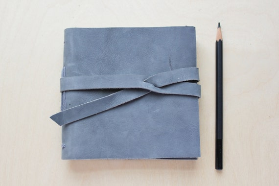 Hand sewn steel blue nubuck leather journal