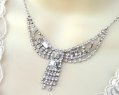 Art Deco Silver Rhinestone Necklace
