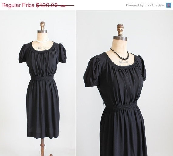 Vintage 1940s Dress : 30s 40s Black Crepe Swing Dress Day Evening