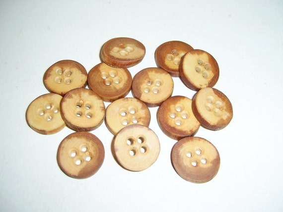 "14 Handmade  wild cherry wood buttons, accessories (0,79"" diameter x 0,16"" thick)"