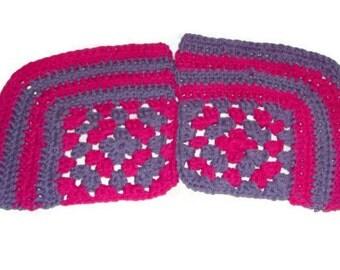 Granny  Square  Cotton  Dishcloth,  Washcloth, Set Of 2 Hot Pink & Light Purple
