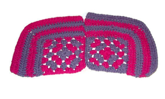 Granny Square Corner Dishcloth, Set Of 2 Hot Pink & Light Purple