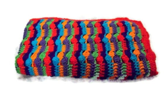 Vibrant Bright Colorful Stripes And Clusters Lapghan Afghan