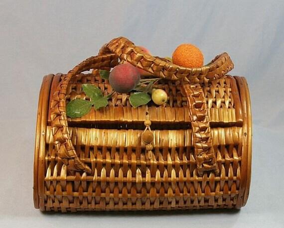 ON HOLD Vintage Wicker Basket Purse, Picnic Style with Fruit, Handbag