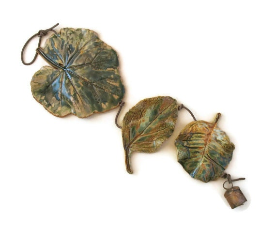 Clay Leaves Wall Hanging (3) - Made with Real Leaves - Unique Decoration
