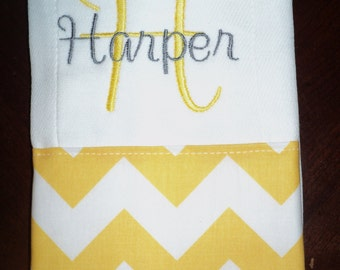 Chevron Personalized Monogrammed Baby Burp Cloth - Yellow and Gray - Perfect for a Girl Baby Shower