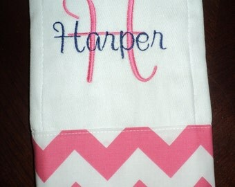 Chevron Personalized Monogrammed Baby Burp Cloth...Pink and Navy - Perfect for a Girl Baby Shower