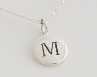 Sterling Silver Initial Necklace, Personalized Initial Necklace, Engraved Charm, Free US Shipping