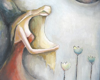 Girl Under The Moon - Wall Decor - Original Oil Painting - Home Decor - Figure Painting - Surreal Painting