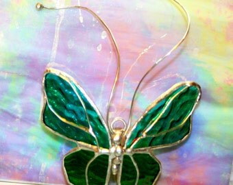 Stained Glass Butterfly Medium teal and green