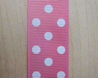 5 yards Bubble Gum Pink Polka Dot Grosgrain Ribbon 1 inch