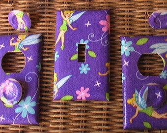 Tinkerbell Set Med Purple Light Switch Plate Toggle Cover 2 Outlets Set includes child safety cover's