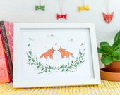 Two foxes in love A5 Print